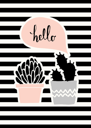 leaf: Hand drawn cactus plants in black, gray and pastel pink on striped background with pink speech bubble.