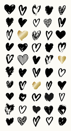 saint: A set of 50 hand drawn heart shapes in black and gold, perfect for greeting cards, invitations, posters, mugs, etc.