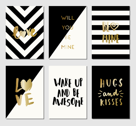 st: A set of 6 modern and stylish greeting card templates in black, white and gold. Illustration