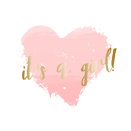 watercolour: Baby girl birth announcementbaby shower card design with a pastel pink heart and gold message Its a Girl. Illustration