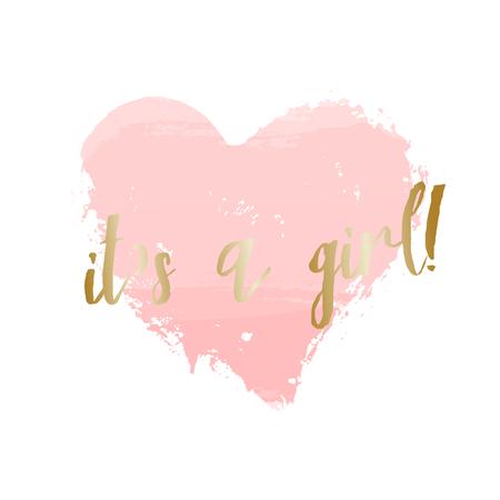 Baby meisje geboorte aankondiging  baby shower kaart ontwerp met een pastel roze hart en goud bericht Het is een meisje. Stock Illustratie