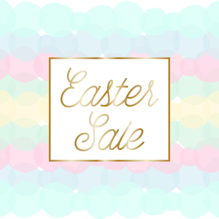 blue green background: Easter sale posterbrochure design with text Easter Sale in gold and colorful pastel pink, green, blue and yellow bubbles in the background.