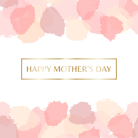 postcard: Mothers Day greeting card design with gold letters message and pastel pink watercolor brush strokes in the background. Illustration