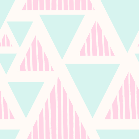 Seamless abstract repeating pattern with triangle shapes in pastel pink and blue and hand drawn striped texture on cream background.