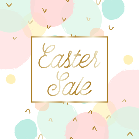 Easter sale posterbrochure design with text Easter Sale in gold and colorful pastel pink, green, blue and yellow bubbles in the background.