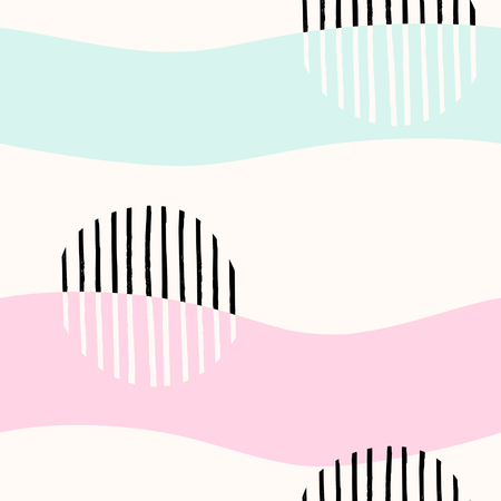 black background: Seamless abstract repeating pattern with black geometric shapes, hand drawn elements and waves in pastel colors on white background. Illustration