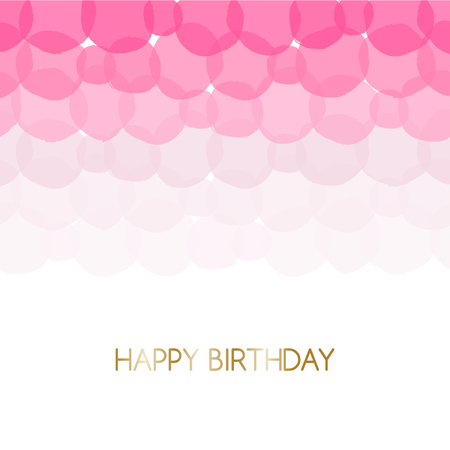 festive: Birthday greeting card design with text Happy Birthday in gold and pink bubbles in the background.