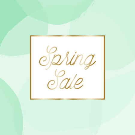 festive background: Spring sale posterbrochure design with text Spring Sale in gold and mint green bubbles in the background. Illustration