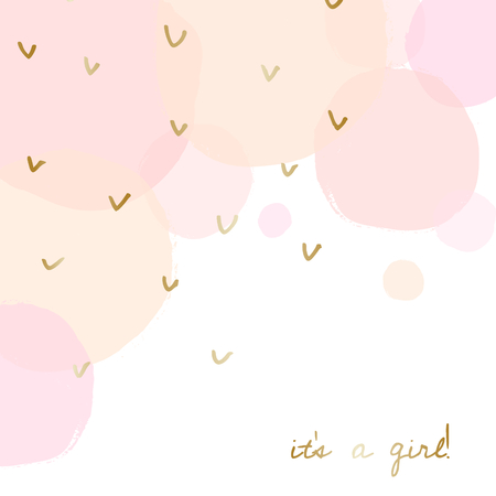 Baby Girl Birth Announcementbaby Shower Card Design With Gold Message Its A  Girl And Transparent Pink