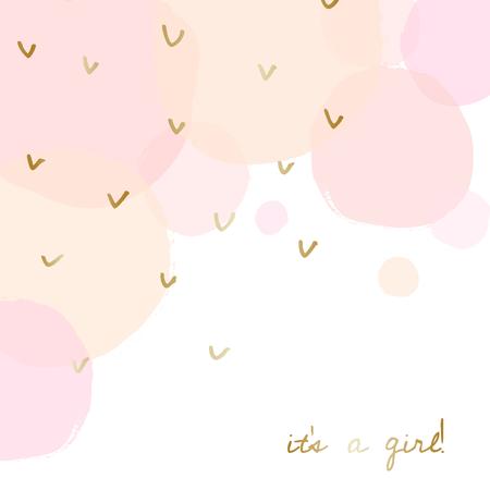 Diseño de la tarjeta del aviso del nacimiento del bebé / de la fiesta de bienvenida al bebé con el mensaje del oro Es una muchacha y burbujas rosadas y anaranjadas transparentes de la acuarela en el fondo.