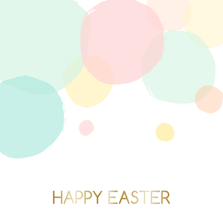 Easter greeting card design with text Happy Easter in gold and colorful pastel pink, green, blue and yellow bubbles in the background. Illustration