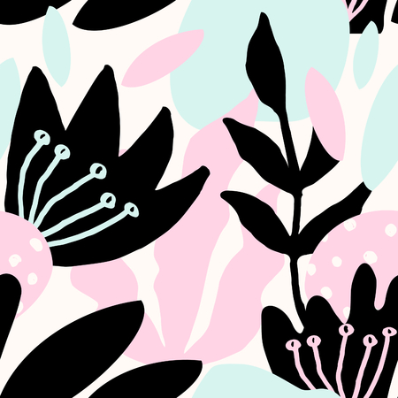 Seamless repeat pattern with botanical elements in pastel pink, light blue, black and cream. Modern and original textile, wrapping paper, wall art design.