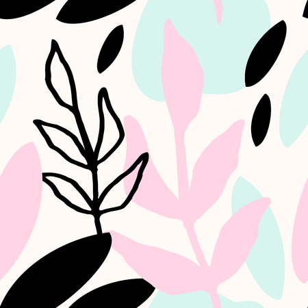 leaf: Seamless repeat pattern with botanical elements in pastel pink, light blue, black and cream. Modern and original textile, wrapping paper, wall art design.
