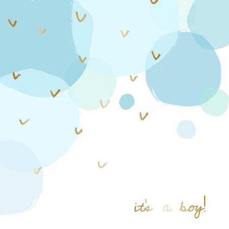 Diseño de la tarjeta del aviso del nacimiento del bebé / de la fiesta de bienvenida al bebé con el mensaje del oro Es un muchacho y las burbujas azules transparentes de la acuarela en el fondo.