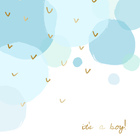 Baby boy birth announcement/baby shower card design with gold message It's a Boy and transparent blue watercolor bubbles in the background. Vectores