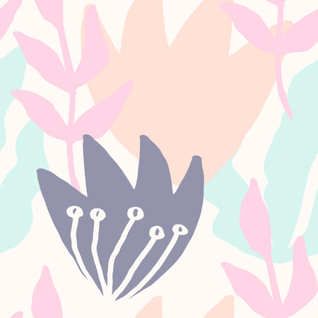 repetition: Seamless repeat pattern with botanical elements in pastel pink, light blue, lavender and cream. Modern and original textile, wrapping paper, wall art design.