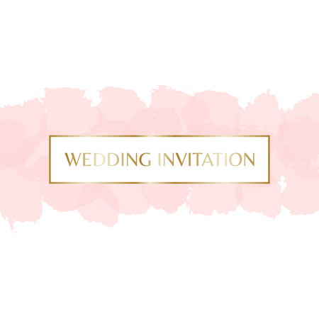watercolour: Wedding invitation design with gold letters message and pastel pink watercolor brush strokes in the background.