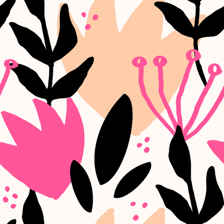 repetition: Seamless repeat pattern with botanical elements in fuchsia pink, light orange, black and cream. Modern and original textile, wrapping paper, wall art design. Illustration