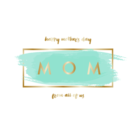 watercolour: Mothers Day greeting card design with gold letters message and turquoise green watercolor brush strokes in the background.