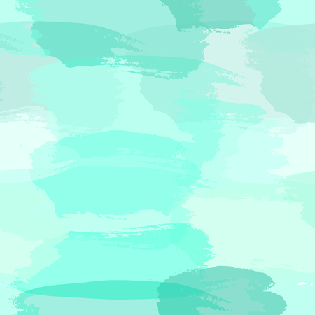 repetition: Seamless abstract pattern with transparent brush strokes in light blue, turquoise green and teal blue, imitating watercolor paint. Modern and stylish background, gift paper, fabric design, wall art. Illustration