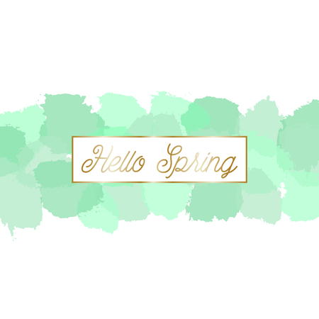 translucent: Spring sale posterbrochure design with text Spring Sale in gold and mint green watercolor brush strokes in the background.