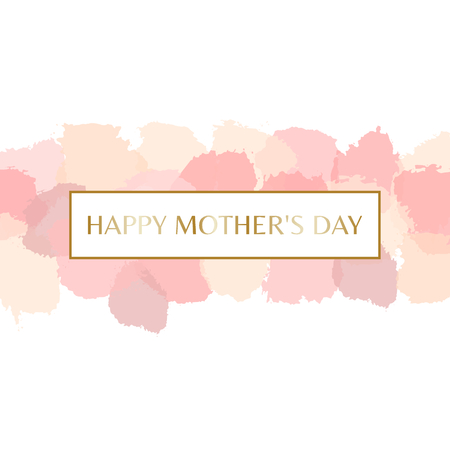 watercolour: Mothers Day greeting card design with gold letters message and pastel pink watercolor brush strokes in the background. Illustration