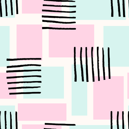 repetition: Seamless abstract repeating pattern with geometric shapes in pastel pink and blue and hand drawn striped texture in black.