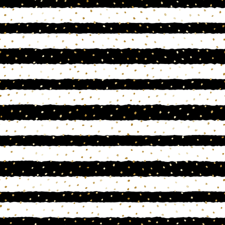 repetition: Hand drawn seamless repeat pattern with dots texture in golden and black stripes on white background. Modern and original textile, wrapping paper, wall art design. Illustration