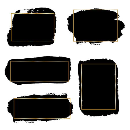 ink stain: A set of black ink brush strokes with thin golden frames, isolated on white background. Hand drawn graphic design elements with copy-space. Illustration