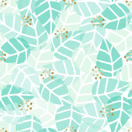 leaf: Seamless repeat pattern with gold dots and green leaves on white background. Nature inspired fabric, gift wrap, greeting card design.