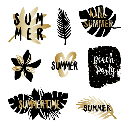 tropical: Summer typographic design elements with tropical leaves and flowers in gold and black, isolated on white background.