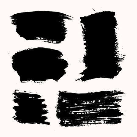 black background: A set of black ink brush strokes, isolated on white background. Hand drawn graphic design elements with copy-space.