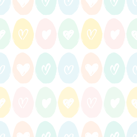 paper texture: Hand drawn seamless repeat pattern with Easter eggs in pastel pink, green and light blue on white background. Cute and original Easter textile, wrapping paper, greeting card design.