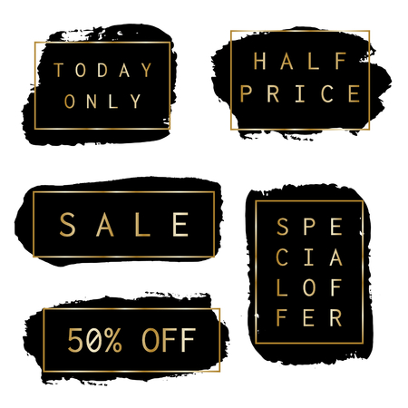 watercolour: A set of hand drawn black sale banners with thin golden frames and text, isolated on white background.