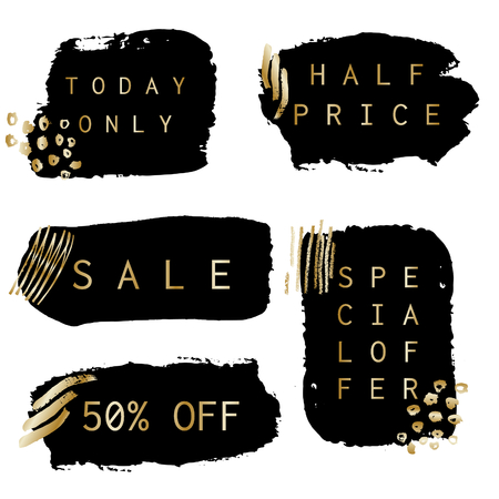 golden: A set of hand drawn black sale banners with thin gold frames, decoration and text, isolated on white background.