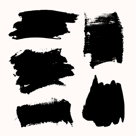 watercolour: A set of black ink brush strokes, isolated on white background. Hand drawn graphic design elements with copy-space.