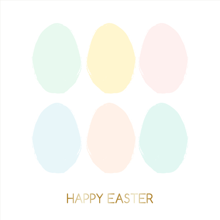 watercolour: Easter greeting card design with text Happy Easter in gold and colorful pastel pink, green,blue and yellow Easter eggs in the background.