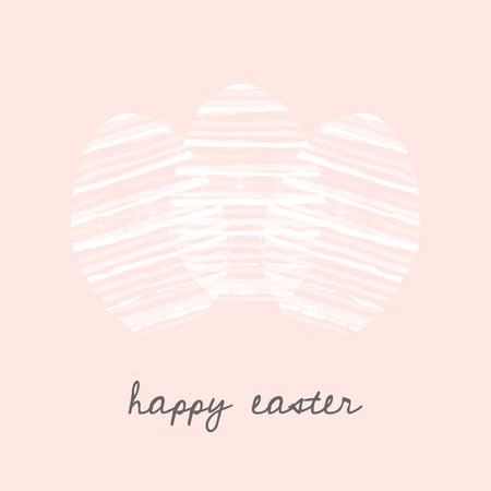 postcard: Easter eggs greeting card template with hand drawn white stripes and text Happy Easter on pastel pink background.