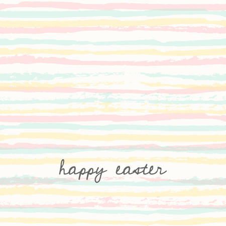 festive: Easter greeting card template with hand drawn colorful stripes and text Happy Easter.