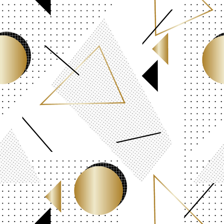 design elements: Seamless repeat pattern with geometric elements and textures in black, gold and white. Retro style tiling background, poster, textile, greeting card design.