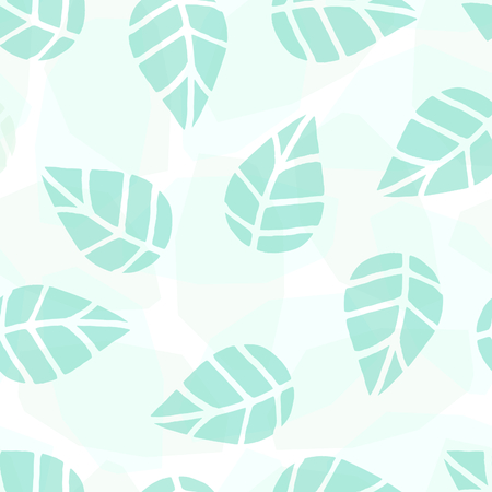 leaf: Seamless repeat pattern with transparent green leaves on white background. Nature inspired fabric, gift wrap, greeting card design. Illustration