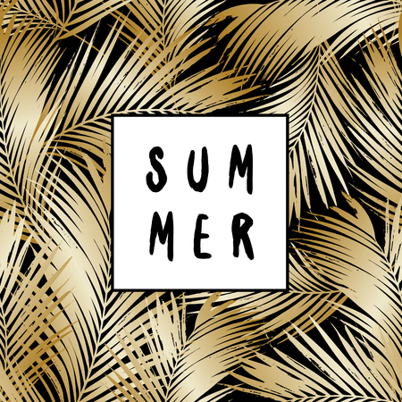 golden: Abstract design with gold palm leaf silhouettes and text Summer.