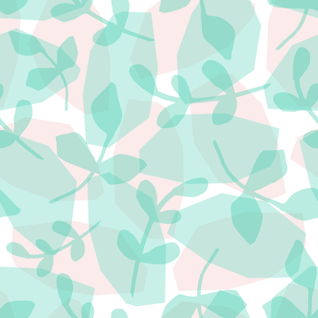 simple: Seamless repeat pattern with green branches and transparent geometric shapes on white background. Nature inspired wallpaper, gift wrap, textile, wall art design.