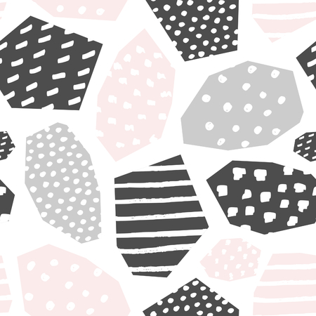 Seamless repeat pattern with textured geometric shapes in blush pink, gray and white. Abstract style textile, wrapping paper, wall art design. Stock Illustratie