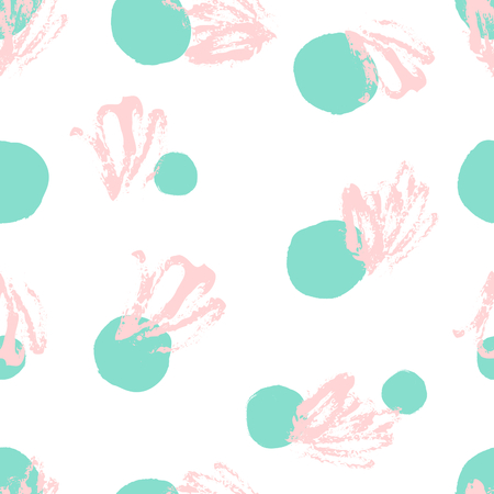 Hand drawn seamless repeat pattern with round shapes in turquoise green and pastel pink scribbles on white background. Modern and original textile, wrapping paper, wall art design.