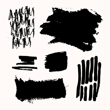 copyspace: A set of black ink brush strokes, isolated on white background. Hand drawn graphic design elements with copy-space.