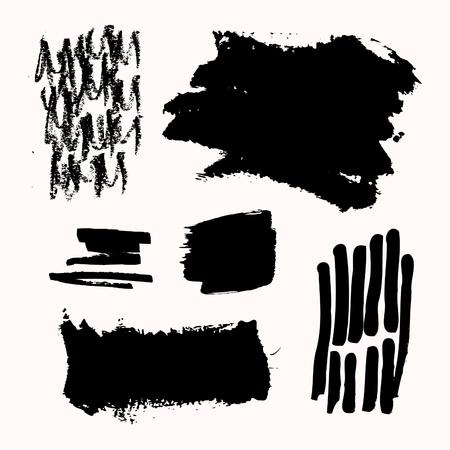 Un conjunto de pinceladas de tinta negra, aislado sobre fondo blanco. Dibujados a mano elementos de diseño gráfico con copia-espacio. Foto de archivo - 75748708