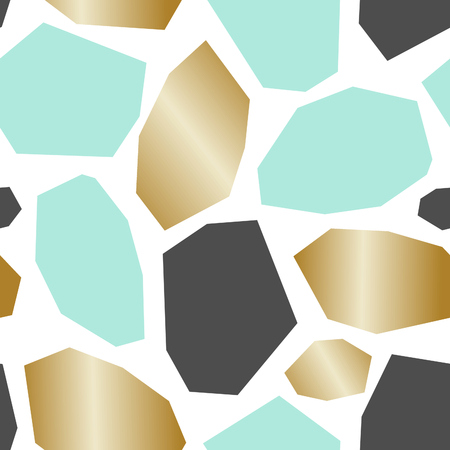 gray: Seamless repeat pattern with geometric shapes in turquoise blue, gray and gold on white background. Illustration