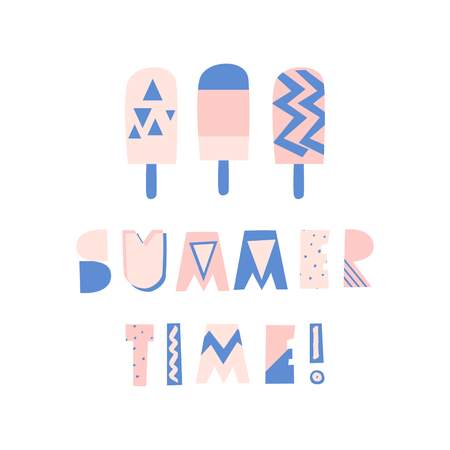 Retro typographic summer design with decorative geometric letters and ice cream in blue and pink on white background.