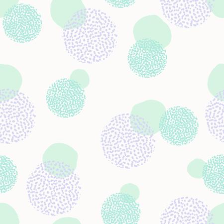 パステル ピンク、ミント グリーン、ラベンダーの白い背景の上に紫色の丸い形状のテクスチャとシームレスな繰り返しパターン。創造的でモダンな  イラスト・ベクター素材